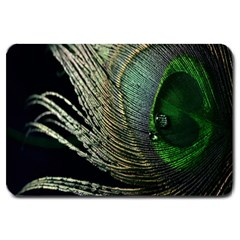 Feather Peacock Drops Green Large Doormat  by Simbadda