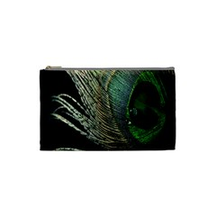 Feather Peacock Drops Green Cosmetic Bag (small)  by Simbadda