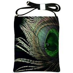 Feather Peacock Drops Green Shoulder Sling Bags by Simbadda