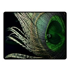 Feather Peacock Drops Green Fleece Blanket (small) by Simbadda