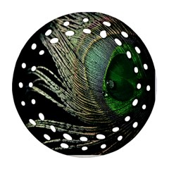 Feather Peacock Drops Green Round Filigree Ornament (two Sides) by Simbadda