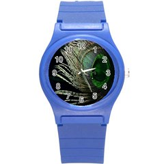 Feather Peacock Drops Green Round Plastic Sport Watch (s) by Simbadda