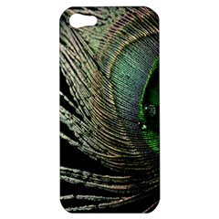 Feather Peacock Drops Green Apple Iphone 5 Hardshell Case by Simbadda