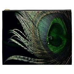 Feather Peacock Drops Green Cosmetic Bag (xxxl)  by Simbadda