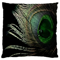 Feather Peacock Drops Green Large Flano Cushion Case (one Side) by Simbadda
