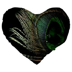Feather Peacock Drops Green Large 19  Premium Flano Heart Shape Cushions by Simbadda