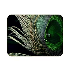 Feather Peacock Drops Green Double Sided Flano Blanket (mini)  by Simbadda