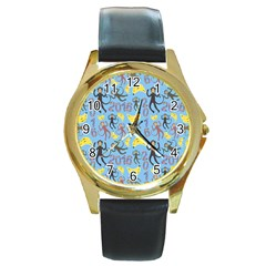 Cute Monkeys Seamless Pattern Round Gold Metal Watch by Simbadda