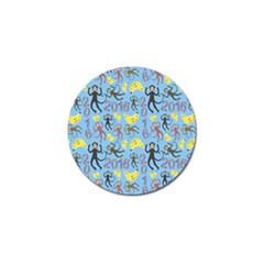 Cute Monkeys Seamless Pattern Golf Ball Marker by Simbadda