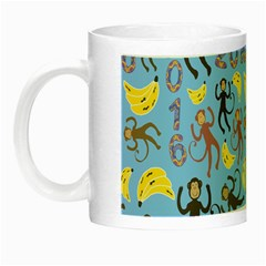 Cute Monkeys Seamless Pattern Night Luminous Mugs by Simbadda