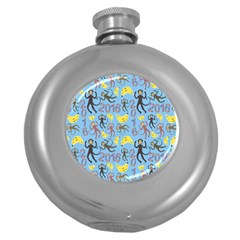 Cute Monkeys Seamless Pattern Round Hip Flask (5 Oz)