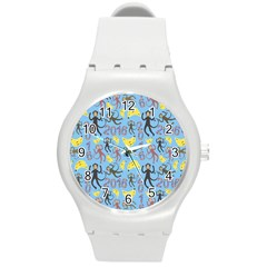 Cute Monkeys Seamless Pattern Round Plastic Sport Watch (m) by Simbadda