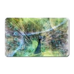 Digitally Painted Abstract Style Watercolour Painting Of A Peacock Magnet (rectangular) by Simbadda