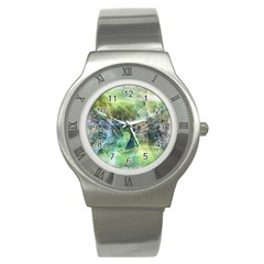 Digitally Painted Abstract Style Watercolour Painting Of A Peacock Stainless Steel Watch by Simbadda