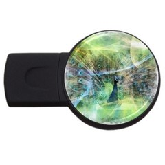 Digitally Painted Abstract Style Watercolour Painting Of A Peacock Usb Flash Drive Round (4 Gb) by Simbadda