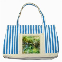 Digitally Painted Abstract Style Watercolour Painting Of A Peacock Striped Blue Tote Bag by Simbadda