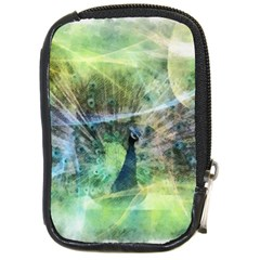 Digitally Painted Abstract Style Watercolour Painting Of A Peacock Compact Camera Cases by Simbadda