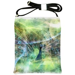 Digitally Painted Abstract Style Watercolour Painting Of A Peacock Shoulder Sling Bags by Simbadda