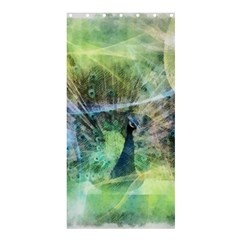 Digitally Painted Abstract Style Watercolour Painting Of A Peacock Shower Curtain 36  X 72  (stall)  by Simbadda