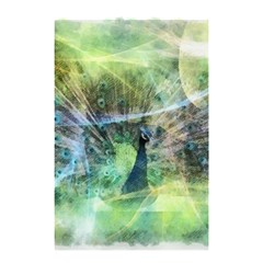 Digitally Painted Abstract Style Watercolour Painting Of A Peacock Shower Curtain 48  X 72  (small)  by Simbadda