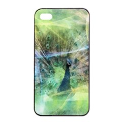 Digitally Painted Abstract Style Watercolour Painting Of A Peacock Apple Iphone 4/4s Seamless Case (black) by Simbadda