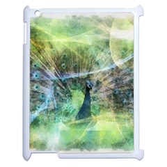 Digitally Painted Abstract Style Watercolour Painting Of A Peacock Apple Ipad 2 Case (white) by Simbadda