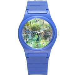 Digitally Painted Abstract Style Watercolour Painting Of A Peacock Round Plastic Sport Watch (s) by Simbadda