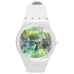 Digitally Painted Abstract Style Watercolour Painting Of A Peacock Round Plastic Sport Watch (m) by Simbadda