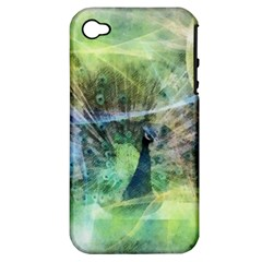 Digitally Painted Abstract Style Watercolour Painting Of A Peacock Apple Iphone 4/4s Hardshell Case (pc+silicone) by Simbadda