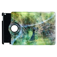 Digitally Painted Abstract Style Watercolour Painting Of A Peacock Apple Ipad 2 Flip 360 Case by Simbadda