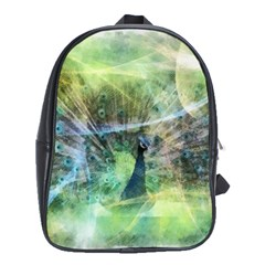 Digitally Painted Abstract Style Watercolour Painting Of A Peacock School Bags (xl)  by Simbadda