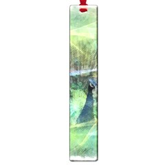 Digitally Painted Abstract Style Watercolour Painting Of A Peacock Large Book Marks by Simbadda