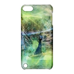 Digitally Painted Abstract Style Watercolour Painting Of A Peacock Apple Ipod Touch 5 Hardshell Case With Stand by Simbadda