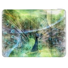 Digitally Painted Abstract Style Watercolour Painting Of A Peacock Samsung Galaxy Tab 7  P1000 Flip Case by Simbadda