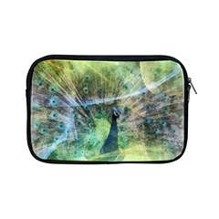 Digitally Painted Abstract Style Watercolour Painting Of A Peacock Apple Ipad Mini Zipper Cases by Simbadda
