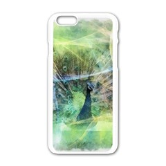 Digitally Painted Abstract Style Watercolour Painting Of A Peacock Apple Iphone 6/6s White Enamel Case by Simbadda