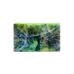 Digitally Painted Abstract Style Watercolour Painting Of A Peacock Cosmetic Bag (xs) by Simbadda