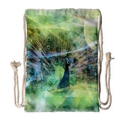 Digitally Painted Abstract Style Watercolour Painting Of A Peacock Drawstring Bag (large) by Simbadda