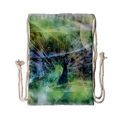 Digitally Painted Abstract Style Watercolour Painting Of A Peacock Drawstring Bag (small) by Simbadda