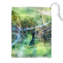 Digitally Painted Abstract Style Watercolour Painting Of A Peacock Drawstring Pouches (xxl) by Simbadda
