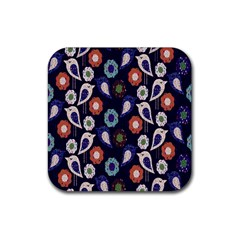 Cute Birds Pattern Rubber Square Coaster (4 Pack)  by Simbadda