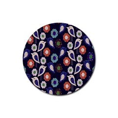 Cute Birds Pattern Rubber Coaster (round)  by Simbadda