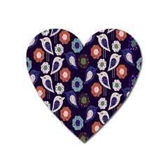 Cute Birds Pattern Heart Magnet by Simbadda