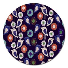 Cute Birds Pattern Magnet 5  (round) by Simbadda