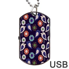 Cute Birds Pattern Dog Tag Usb Flash (two Sides) by Simbadda