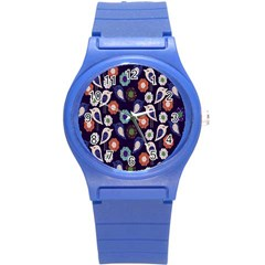 Cute Birds Pattern Round Plastic Sport Watch (s) by Simbadda