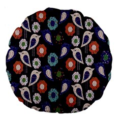 Cute Birds Pattern Large 18  Premium Flano Round Cushions by Simbadda