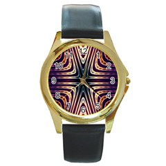 Colorful Seamless Vibrant Pattern Round Gold Metal Watch by Simbadda