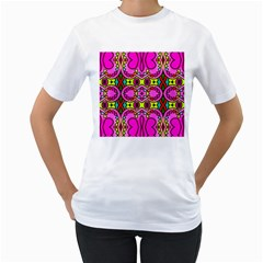Love Hearths Colourful Abstract Background Design Women s T Shirt (white) (two Sided) by Simbadda