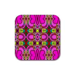 Love Hearths Colourful Abstract Background Design Rubber Square Coaster (4 Pack)  by Simbadda